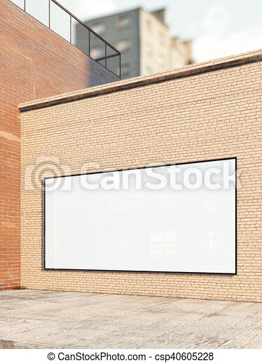 White billboard on a brick wall. 3d rendering - csp40605228