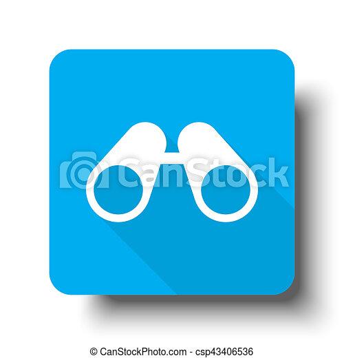 White Binoculars icon on blue web button - csp43406536