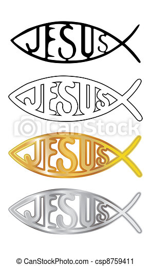 white, black, silver and gold christian fish symbol - illustration - csp8759411