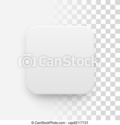 White blank app icon button template. White abstract app icon, blank ...