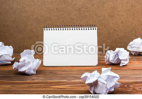 White blank paper notepad book at office worplace. Copy space - csp39154022
