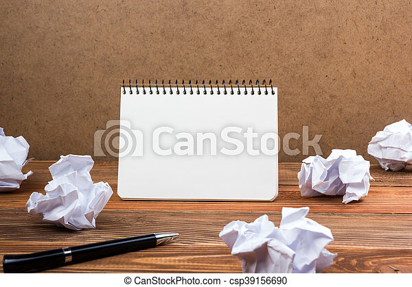 White blank paper notepad book at office worplace. Copy space - csp39156690