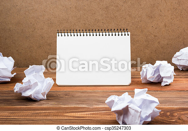 White blank paper notepad book at office worplace. Copy space - csp35247303