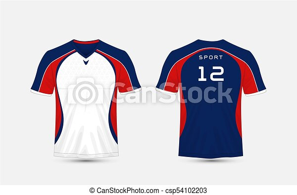 Line Art Uniform : White blue and red stripe pattern sport football kits vector
