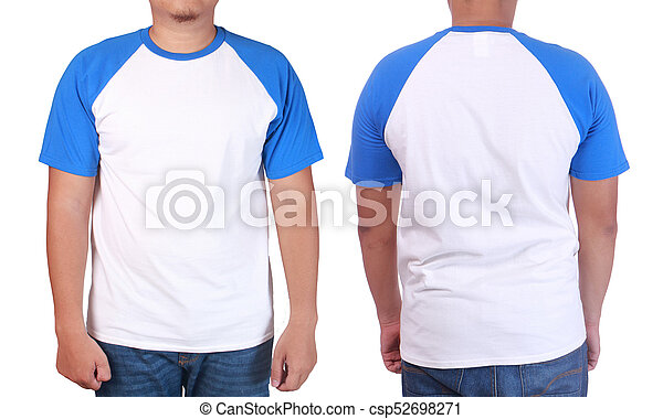 white blue ringer shirt mockup template blank tshirt mock up front and back view isolated on. Black Bedroom Furniture Sets. Home Design Ideas