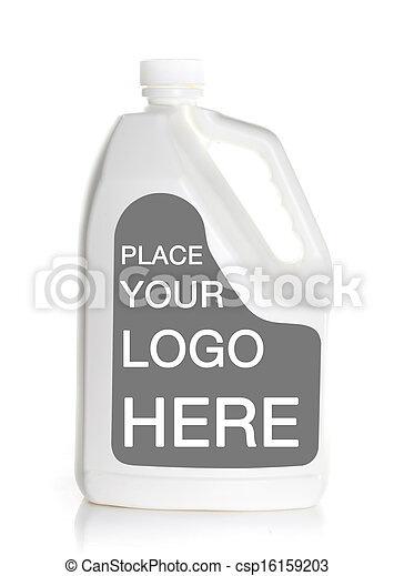 white bottle with blank label isolated on a white background - csp16159203