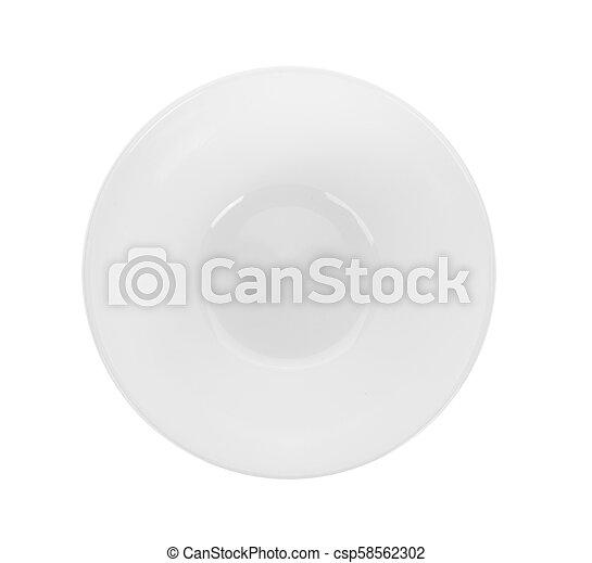 white bowl on white background. top view - csp58562302
