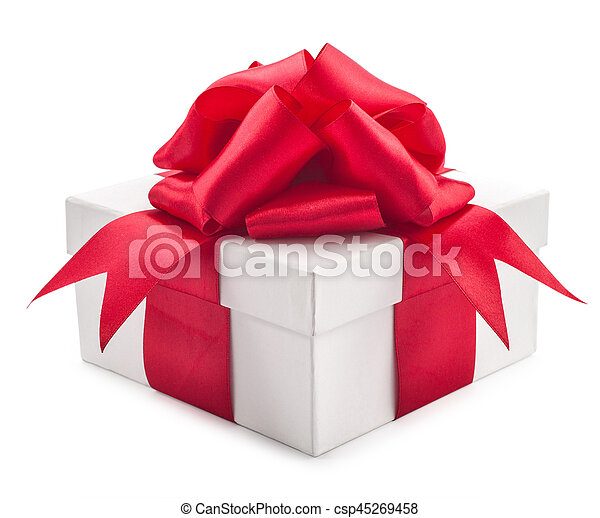 white box with a red bow isolated on white background - csp45269458