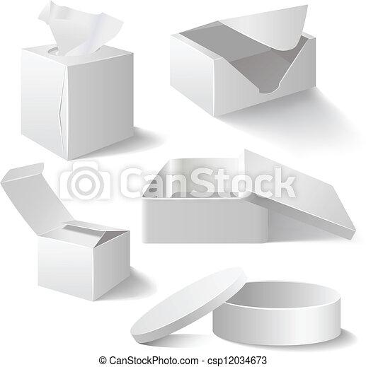 White boxes set isolated on white - csp12034673