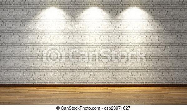 White brick wall with three spot lights 3d rendering brick clip white brick wall with three spot lights 3d rendering csp23971627 mozeypictures Choice Image