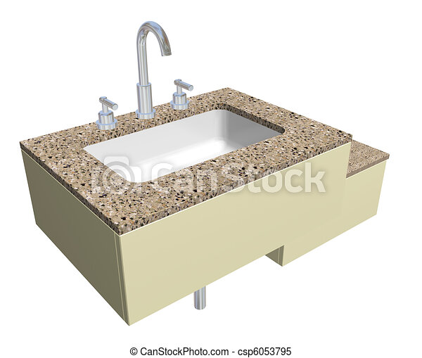 White Built In Square Bathroom Sink With Chrome Faucet And Plumbing Fixtures With A Granite