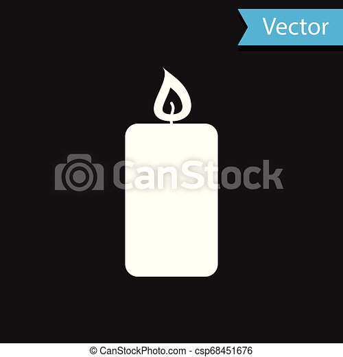 White Burning candle icon isolated on black background. Old fashioned lit candle. Cylindrical aromatic candle stick with burning flame. Vector Illustration - csp68451676