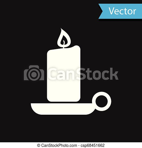 White Burning candle in candlestick icon isolated on black background. Old fashioned lit candle. Cylindrical aromatic candle stick with burning flame. Vector Illustration - csp68451662
