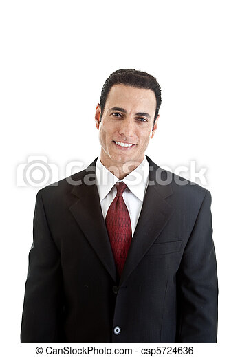 White businessman, waist up with a sincere smile business suit.  Isolated on a white background. - csp5724636
