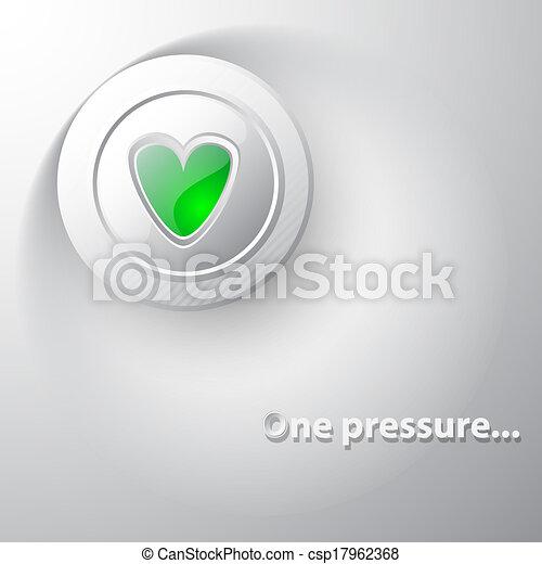 White button green heart - csp17962368