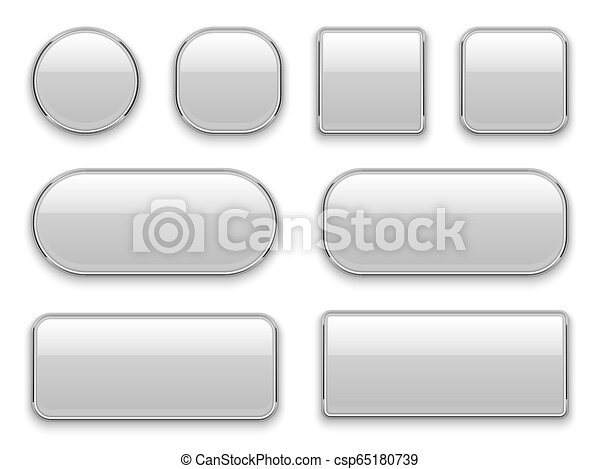 White buttons chrome frame. 3d realistic web glass elements oval rectangle square circle chrome white button interface - csp65180739