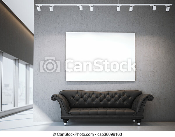 White Canvas And Luxury Sofa In Modern Interior. 3d Rendering   Csp36099163