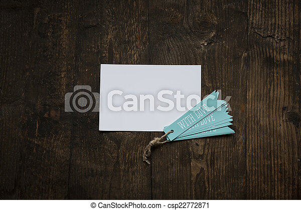 white card with blue tag love - csp22772871