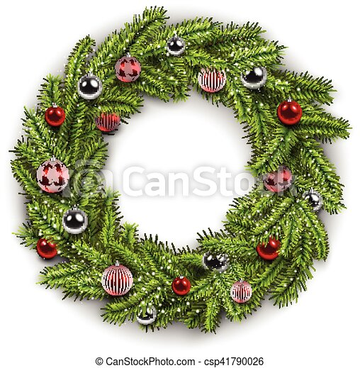 Christmas Wreath Vector.White Card With Christmas Wreath
