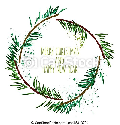 Christmas Wreath Vector.White Card With Minimalistic Christmas Wreath And Art Splashes Vector Illustration