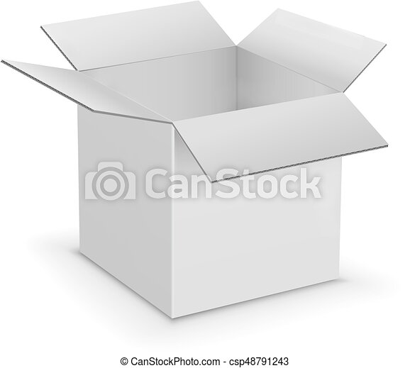 white cardboard boxes template white opened cardboard box vector