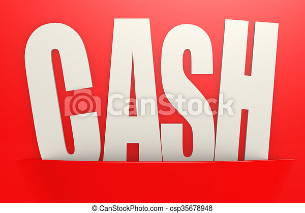 white cash word in red pocket business concept image with hi res