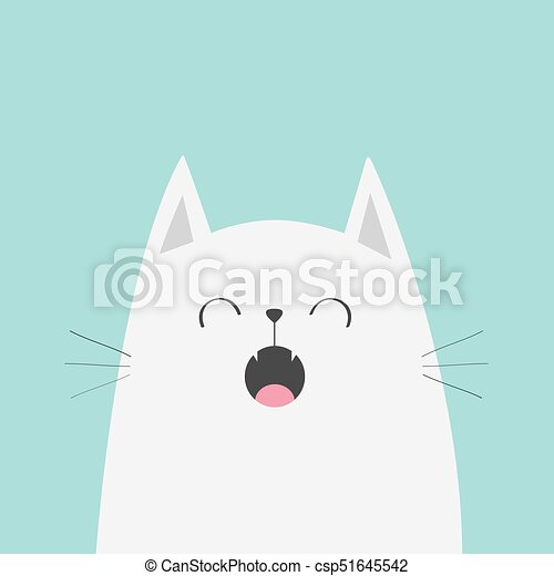 White Cat Face Head Silhouette Meowing Singing Song. Cute Cartoon Funny  Character. Kawaii Animal