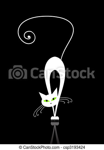 White cat with green eyes silhouette on black - csp3193424