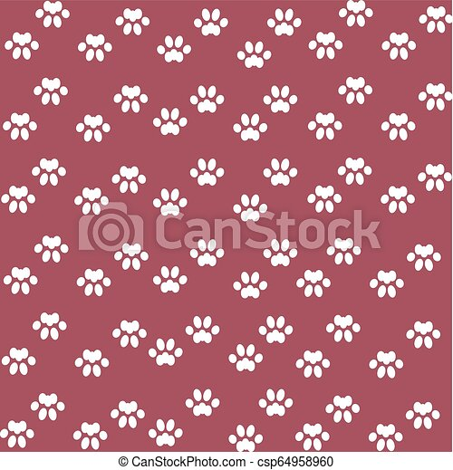 White Cats Paw On An Red Background Pet Paws Pattern Red Background For Kids