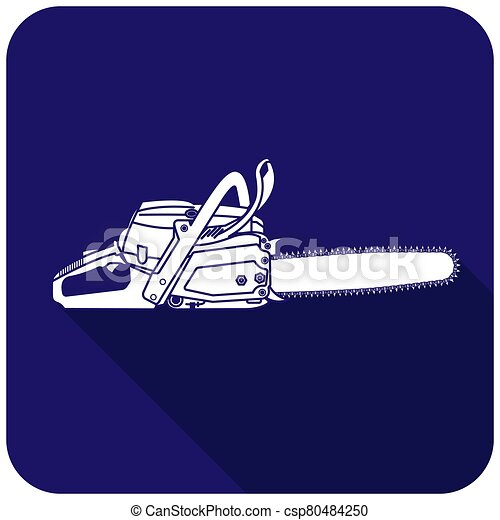 White chainsaw icon on a blue background - csp80484250
