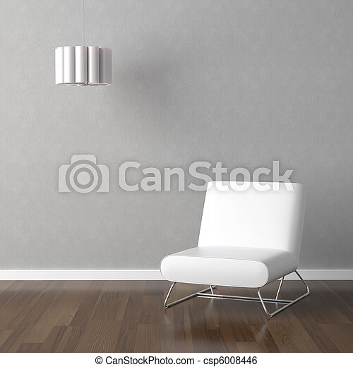 white chair and lamp on grey - csp6008446