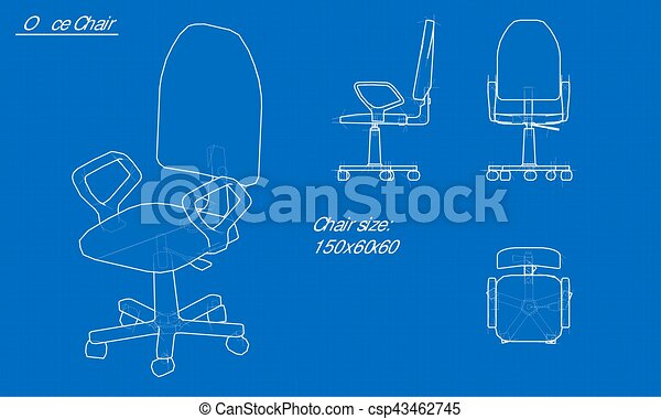 white chair blueprint blue background with grid vector