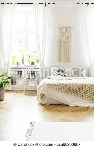 Phenomenal White Chair Next To Bed In Scandinavian Bedroom Interior With Plant And Window Real Photo Theyellowbook Wood Chair Design Ideas Theyellowbookinfo