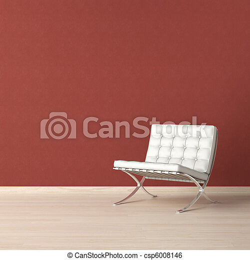 White chair on red wall - csp6008146