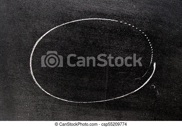 White chalk hand drawing in circle shape on blackboard background - csp55209774