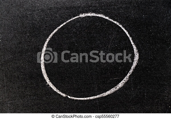White chalk hand drawing in circle shape on blackboard background - csp55560277