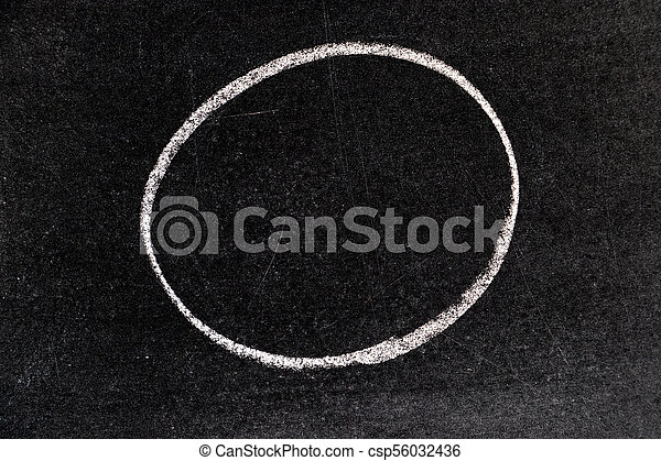 White chalk hand drawing in circle shape on blackboard background - csp56032436