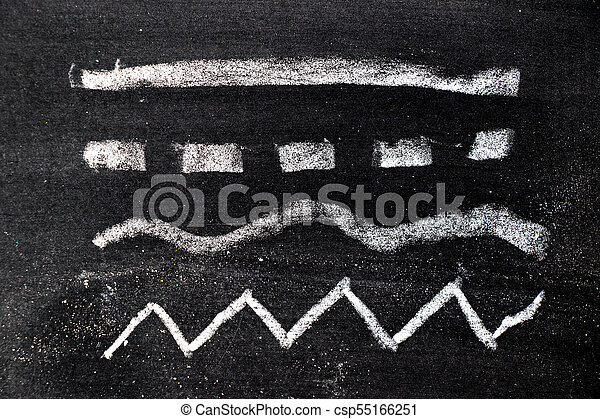 White chalk hand drawing in set of line shape on blackboard background - csp55166251