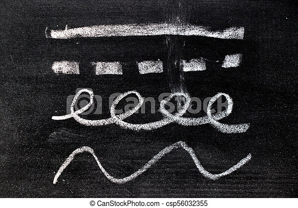 White chalk hand drawing in set of line shape on blackboard background - csp56032355