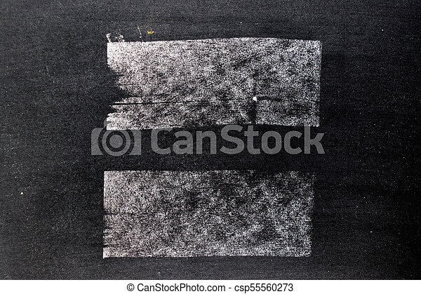 White chalk hand drawing in square or line shape on blackboard background - csp55560273