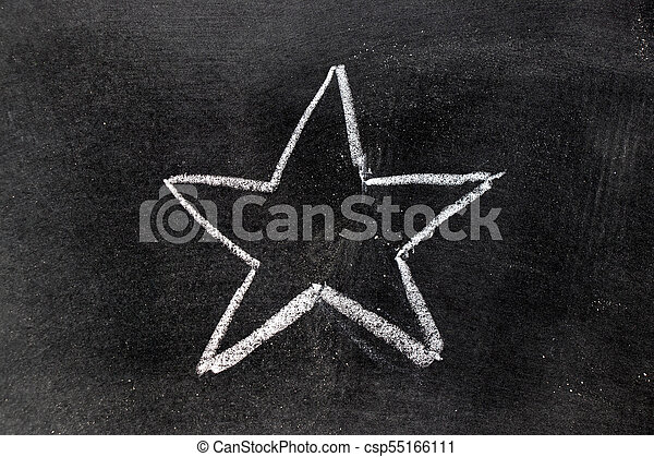 White chalk hand drawing in star shape on blackboard background - csp55166111