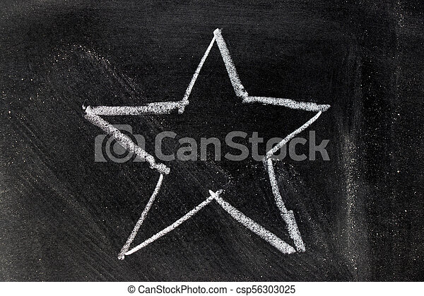 White chalk hand drawing in star shape on blackboard background - csp56303025