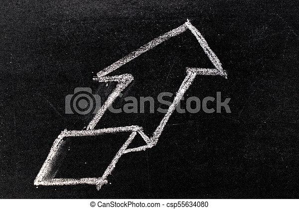 White chalk hand drawing in uptrend arrow shape on blackboard background - csp55634080