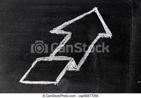 White chalk hand drawing in uptrend arrow shape on blackboard background - csp56877056