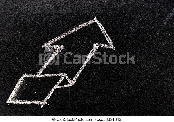 White chalk hand drawing in uptrend arrow shape on blackboard background - csp58621643