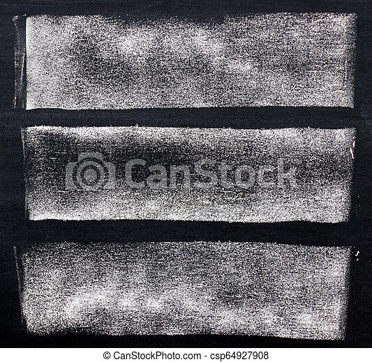 White chalk paint texture on black board background - csp64927908
