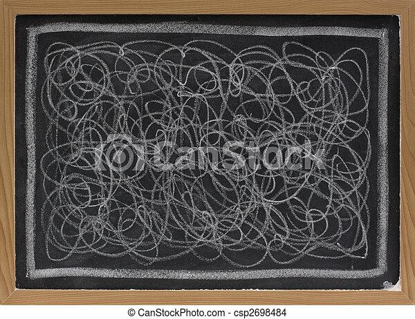 white chalk scribble on blackboard - csp2698484