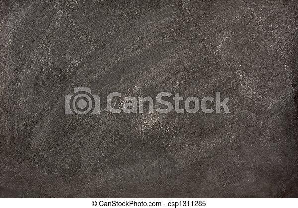 white chalk smudges on a blackboard - csp1311285