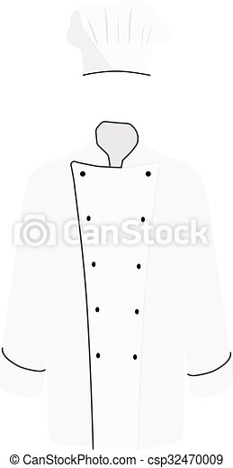 White Chef Uniform Vector Illustration Jacket