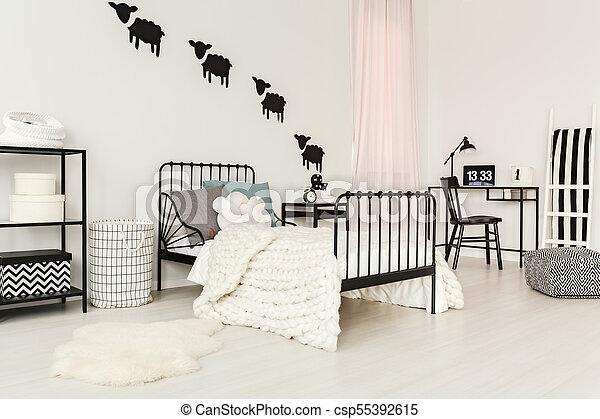 White child\'s bedroom interior